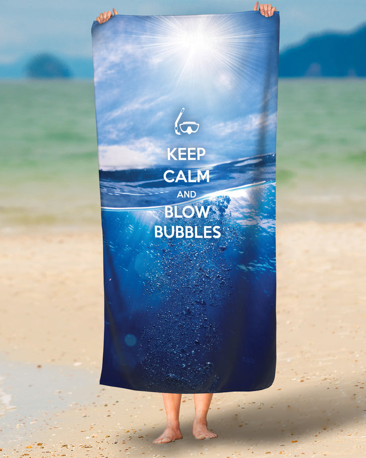 Keep Calm and Blow Bubbles Beach Towel