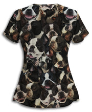 Boston Terriers on Terriers on Terriers Athletic Scrub Top