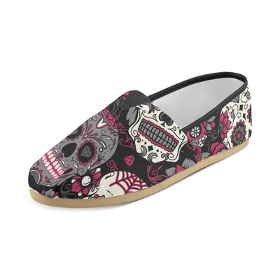 Sugar Skulls - Red & Grey Women's Canvas Shoes