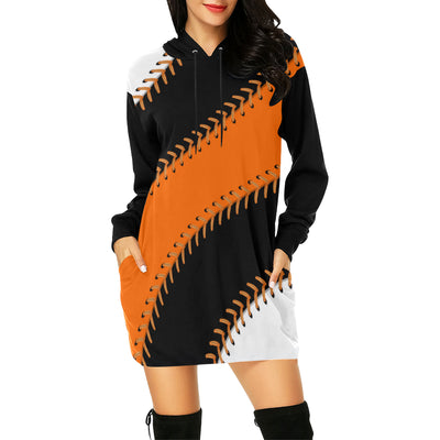 San Francisco Baseball Stitches All Over Print Hoodie Mini Dress