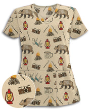 Camping Doodles Athletic Scrub Top