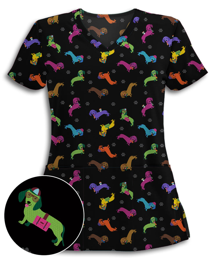 Colorful Dachshunds Athletic Scrub Top