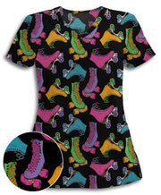 Colorful Roller Skates Athletic Scrub Top