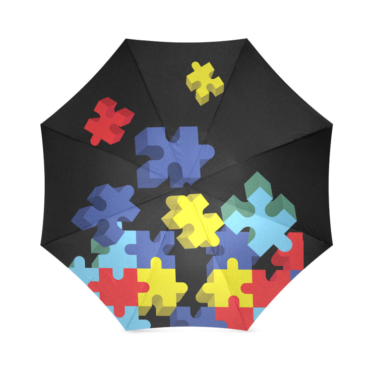 Autism Awareness Puzzle Pieces Foldable Umbrella