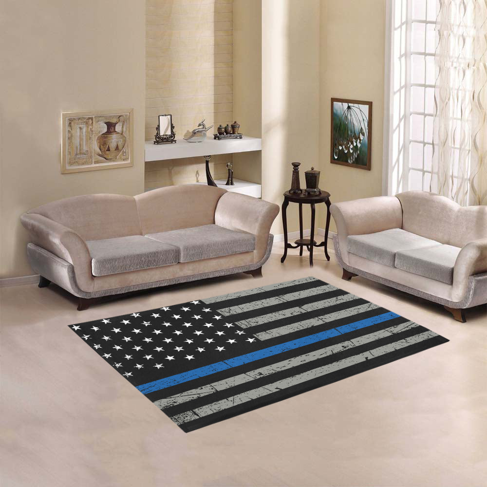 Thin Blue Line Area Rug 5 3 X4