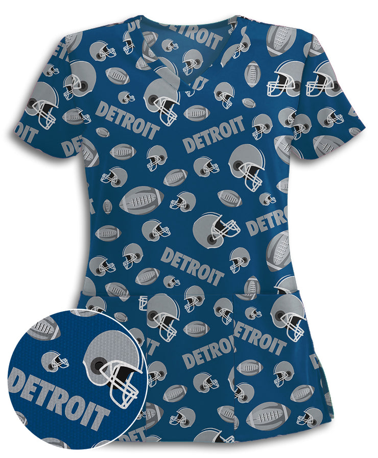 Detroit-Lovin' Football Fans Athletic Scrub Top