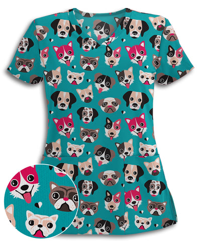 Dogs All Over This Athletic Scrub Top