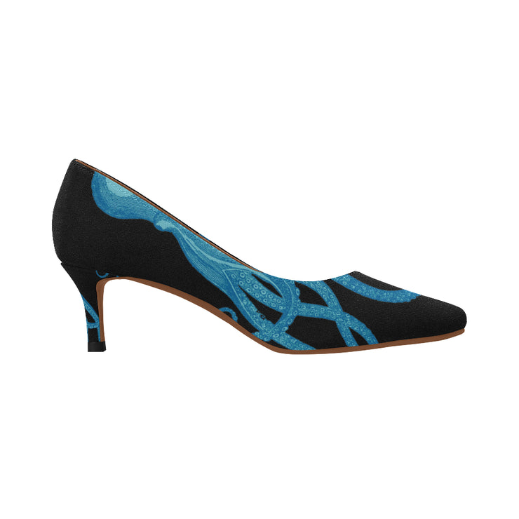 Blue Octopus Tentacles Women's Pointed Toe Low Heel Pumps