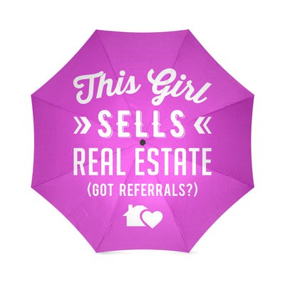 This Girl Sells Real Estate - Got Referrals? Foldable Umbrella