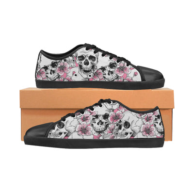 Pink Floral Skulls Women's Canvas Shoes