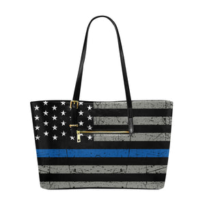 Thin Blue Line Large Leather Tote Bag