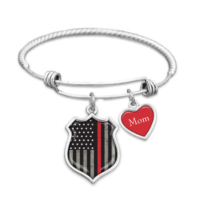 Thin Red Line Firefighter Personalized Charm Bracelet