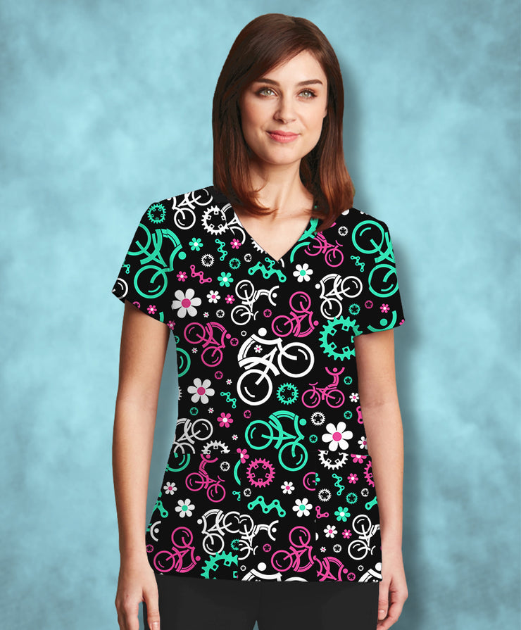 Floral Bikes Athletic Scrub Top