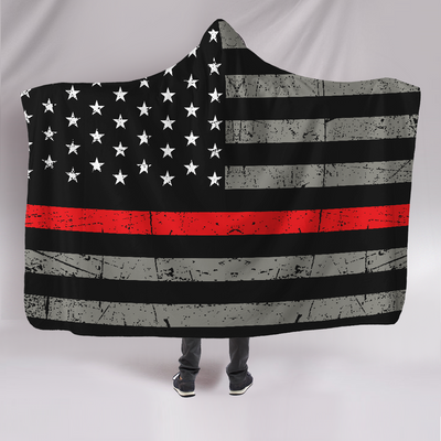 Thin Red Line Firefighter Hooded Blanket