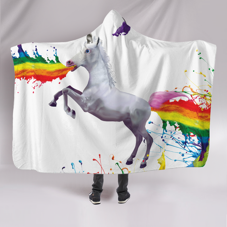Explosive Rainbow Unicorn Hooded Blanket
