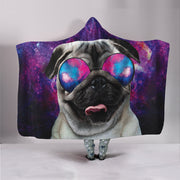 Cool Space Pug Hooded Blanket
