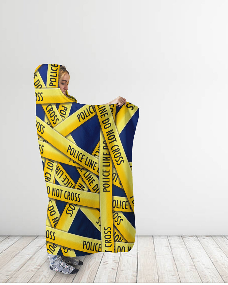 Police Tape Blue Hooded Blanket