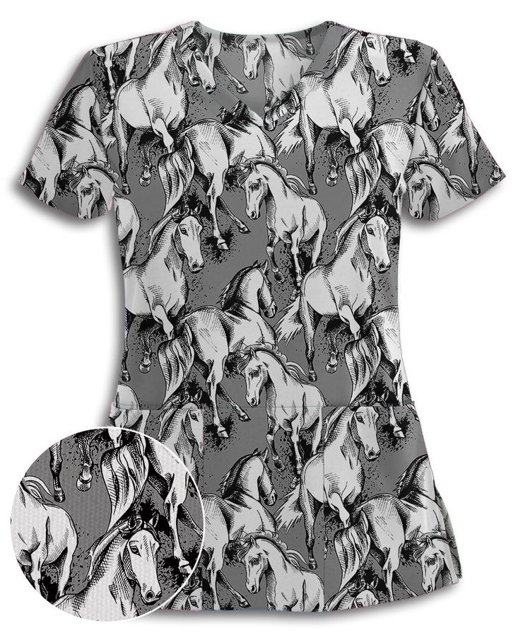 Horses Sketch Athletic Scrub Top