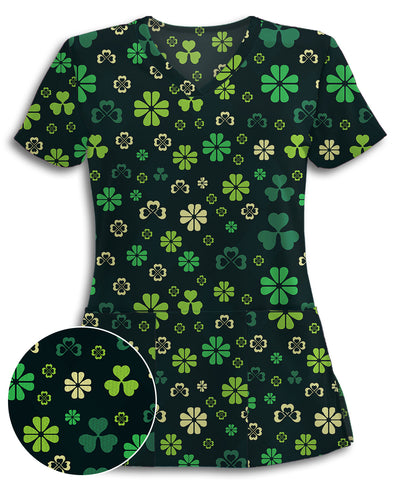 Lucky Clovers Athletic Scrub Top