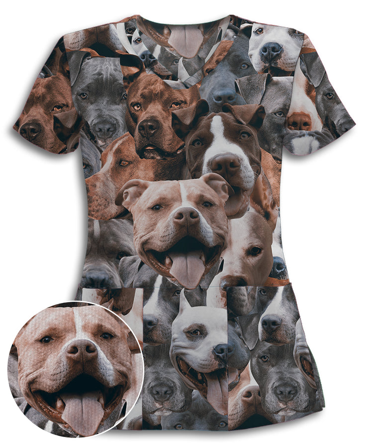 Pitbulls on Pitbulls on Pitbulls Athletic Scrub Top
