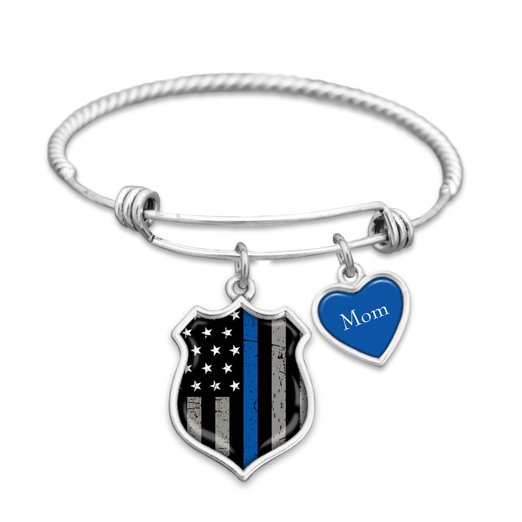 Thin Blue Line Police Personalized Charm Bracelet