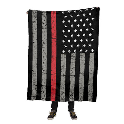 Firefighter Thin Red Line Fleece Blanket