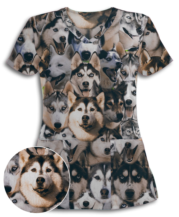 Siberian Huskies on Huskies on Huskies Athletic Scrub Top