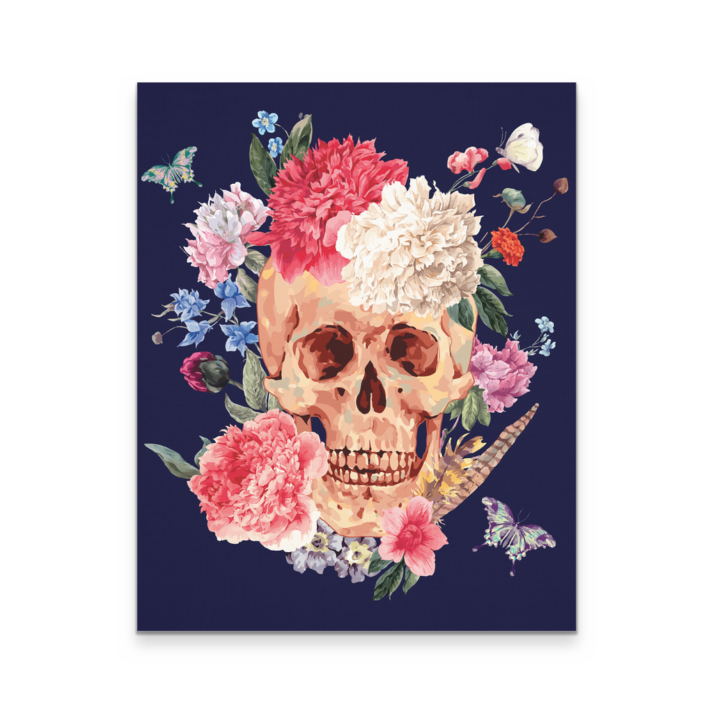 16x20 - Floral Skull With Butterflies Canvas Wall Art