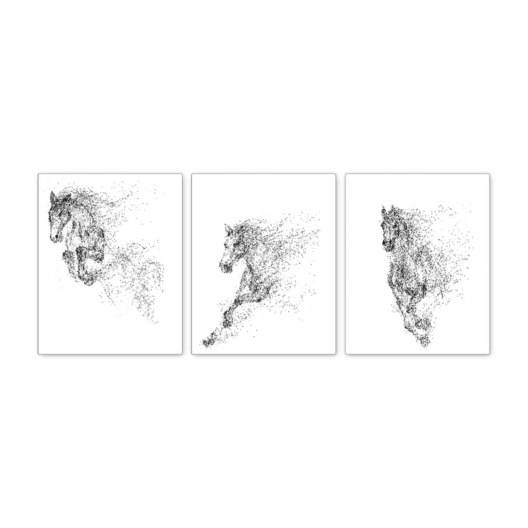 16x20 - The Jumping Horse Canvas Wall Art - Set Of 3