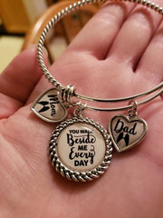 Mom and Dad You Walk Beside Me Every Day Charm Bracelet