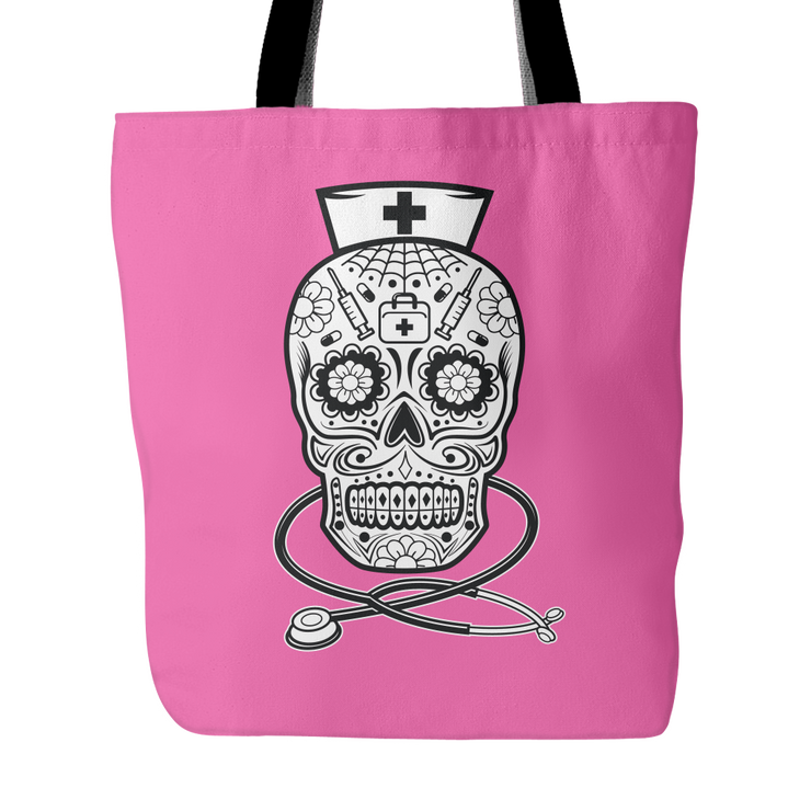 Nurse Sugar Skull Tote Bag