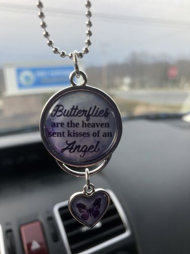 Butterflies Are The Heaven Sent Kisses Of An Angel Purple Watercolor Rearview Mirror Charm