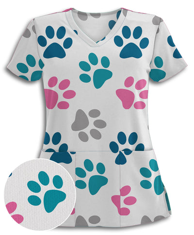 White Paws-ome Athletic Scrub Top