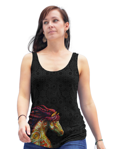 Horse Zentangle Racerback Tank Top