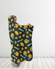 Green Bay All-Over Football Print Hooded Blanket