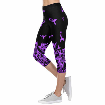 Alzheimer's Awareness Flying Ribbon 3/4 Capri Leggings