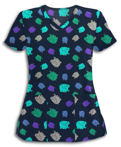 Colorful Elephants Scrub Top