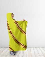 Softball Stitches Hooded Blanket