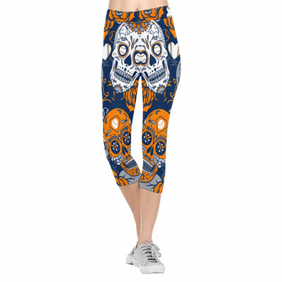 Houston Sugar Skull 3/4 Capri Leggings