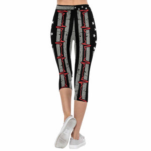 Red EKG Line Flag 3/4 Capri Leggings