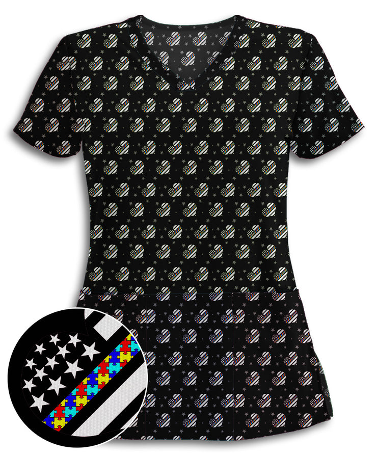 Autism Awareness Thin Puzzle Line Hearts Scrub Top