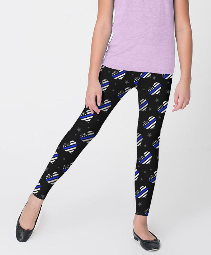 Thin Blue Line Hearts Youth Leggings