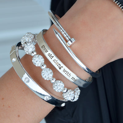Grow Old Along With Me Arm Party Bracelet Stack
