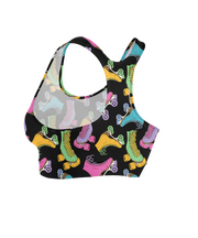 Colorful Roller Derby Skates Sports Bra