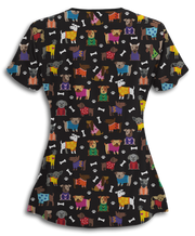 Cozy Dogs Black Scrub Top