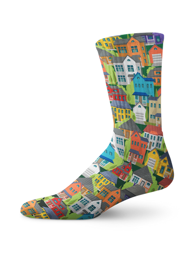 Little Houses Real Estate Crew Socks