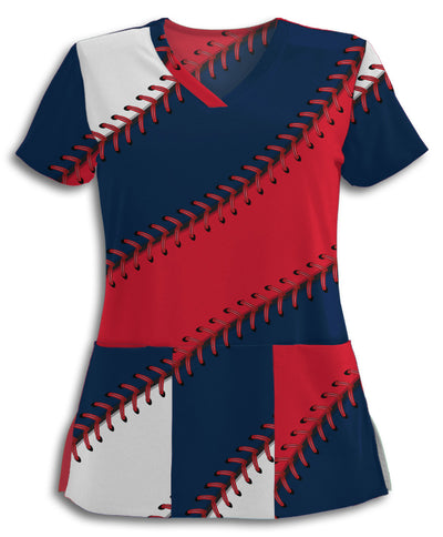 Cleveland Baseball Stitches Scrub Top