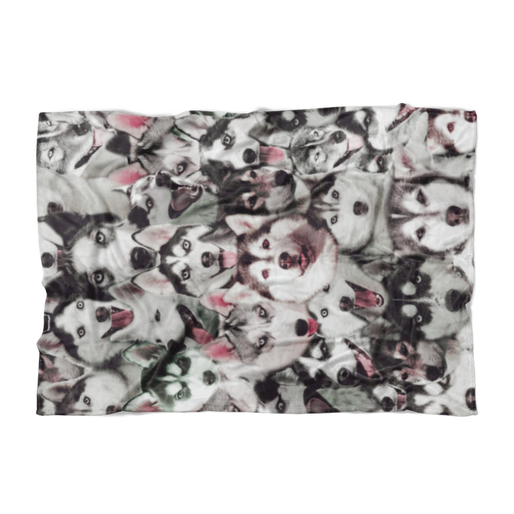 Huskies on Huskies on Huskies Fleece Blanket