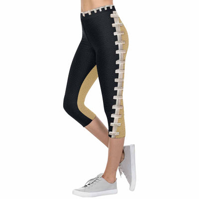 New Orleans Black and Gold Football Stitch 3/4 Capri Leggings