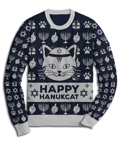Happy Hanukcat Fleece Sweatshirt